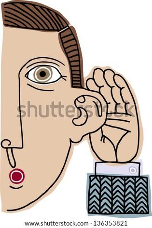 Vector illustration of a man listening - stock vector