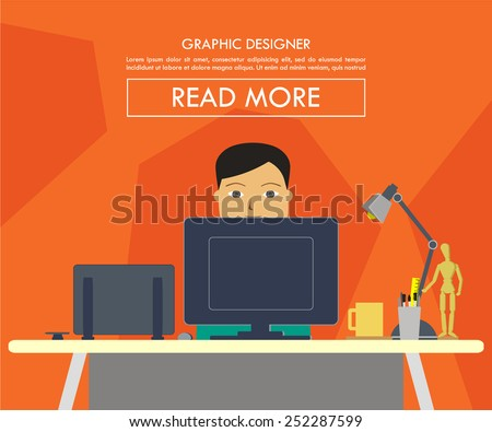 vector illustration of a man on his desk working as a graphic designer - stock vector