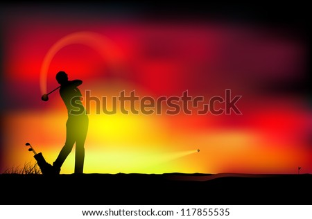 Vector illustration of a man playing golf - stock vector