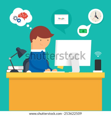 Vector illustration of a man sitting at the desktop and working on the compute, flat style - stock vector