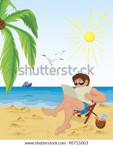 Vector illustration of a man sitting in the chair on the beach reading newspaper - stock vector
