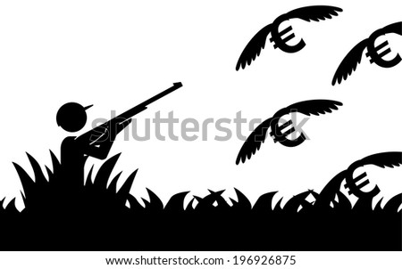 Vector / illustration of a man that is hunting flying euros. - stock vector