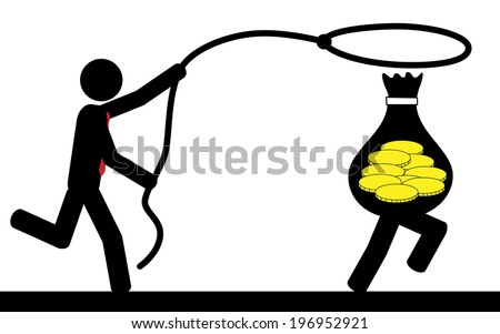 Vector / illustration of a man that is running to catch a bag of money. - stock vector