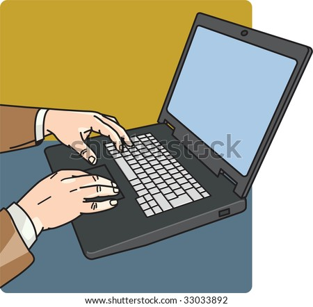 Vector illustration of a man using laptop