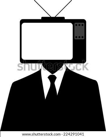 Vector illustration of a man with a tvset on head