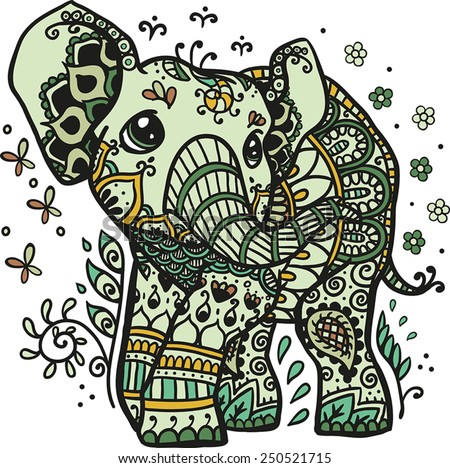 Vector Illustration of a mandala elephant in a nature theme - stock vector