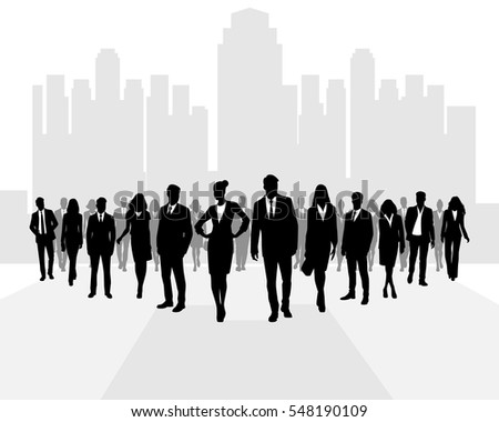 Vector illustration of a many businessmen going