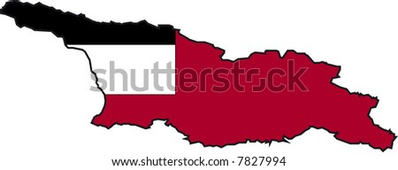 Vector Illustration of a Map and Flag from Georgia