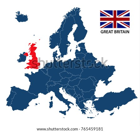 vector illustration of a map of europe with highlighted great britain and british flag isolated on