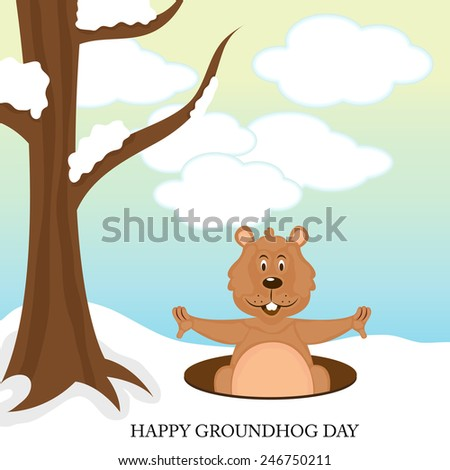 vector illustration of a marmot for Happy Groundhog Day. - stock vector