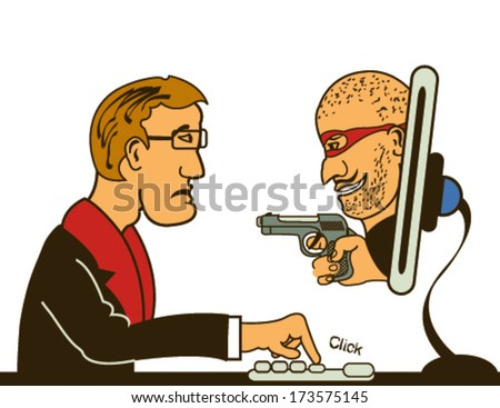 Vector illustration of a masked man with gun  coming from a computer monitor  - computer thief serial.  - stock vector