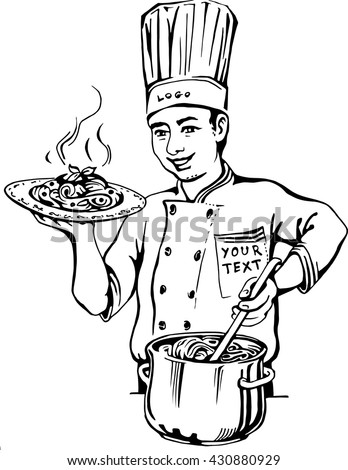 Vector illustration of a master of spaghetti holding a plate of hot pasta in one hand and in the other pot stirred. Chef in uniform.