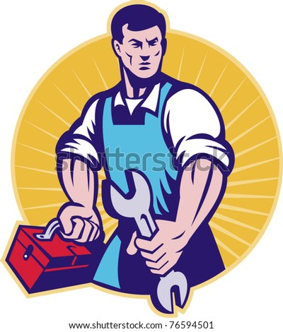 vector illustration of a mechanic with toolbox and wrench spanner done in retro style set inside a circle with sunburst