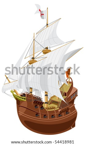 vector illustration of a medieval sailing ship. - stock vector