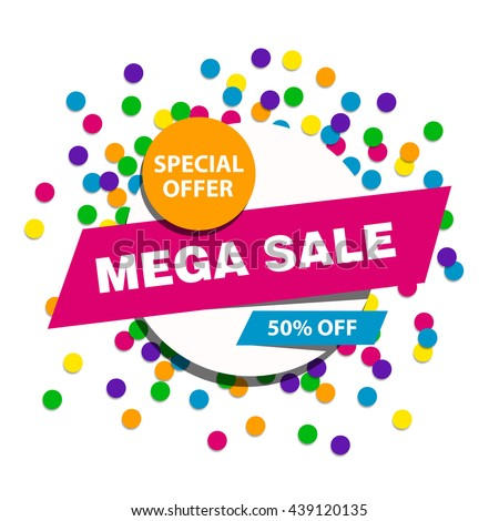 Vector illustration of a Mega Sale Banner on a colorful background