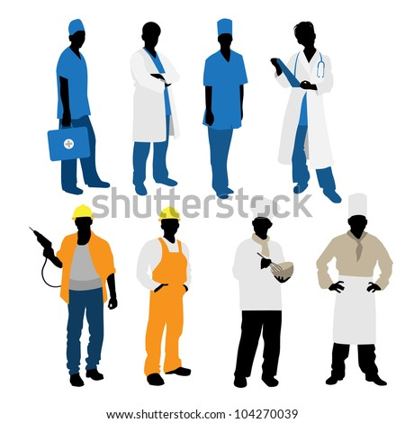 Vector illustration of a mens professions silhouettes - stock vector