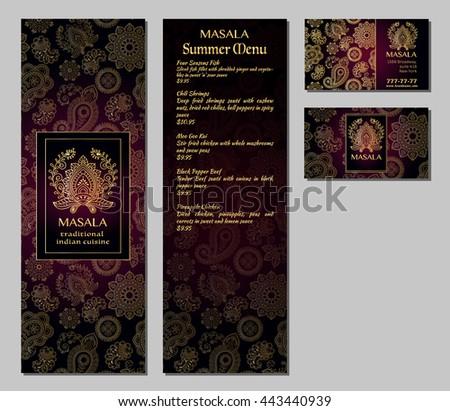 Business set menu set traditional arabic stock vector for Arabic cuisine menu