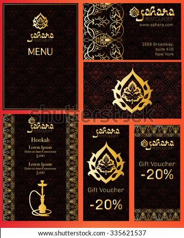 Vector illustration menu restaurant cafe arabian stock vector vector illustration of a menu for a restaurant or cafe arabian oriental cuisine business cards reheart Gallery