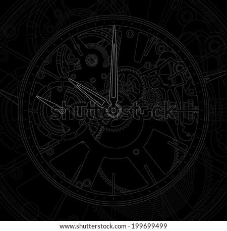 Vector illustration of a metallic mechanical watch and clock component. - stock vector