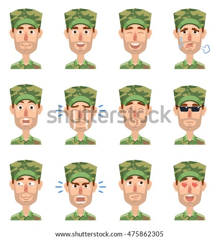 Vector illustration of a military man avatars showing different emotions