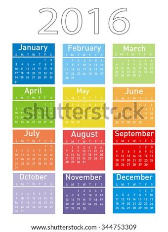 Vector illustration of a modern and simple calendar 2016 - stock vector