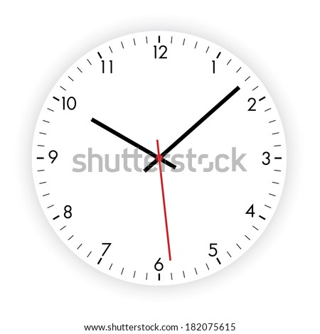 Vector illustration of a modern clock dial on the white background - stock vector