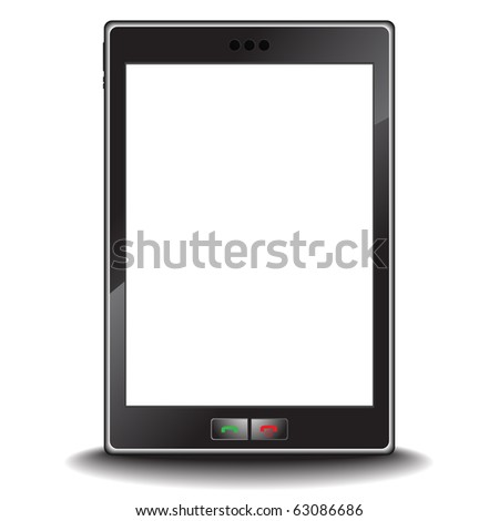 Vector - Illustration of a modern generic cell or mobile phone with a blank screen - stock vector