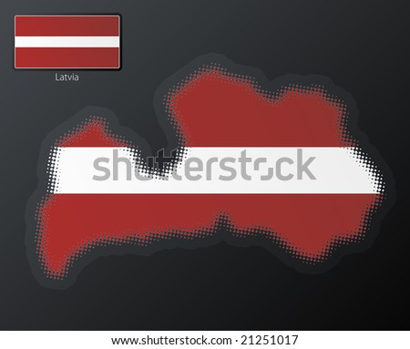 Vector illustration of a modern halftone design element in the shape of Latvia, European Union. Second halftone, border and contents, on separate layer. Additional flag included. - stock vector