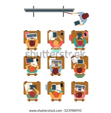 Vector illustration of a modern lesson top view in flat design - stock vector