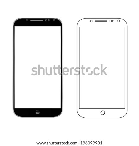 vector illustration of a modern phone and drawn close