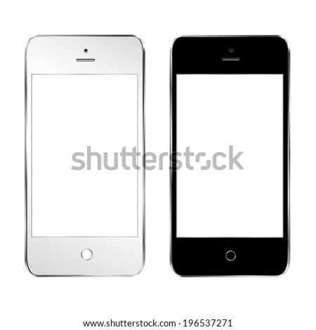 vector illustration of a modern phone in two forms - stock vector