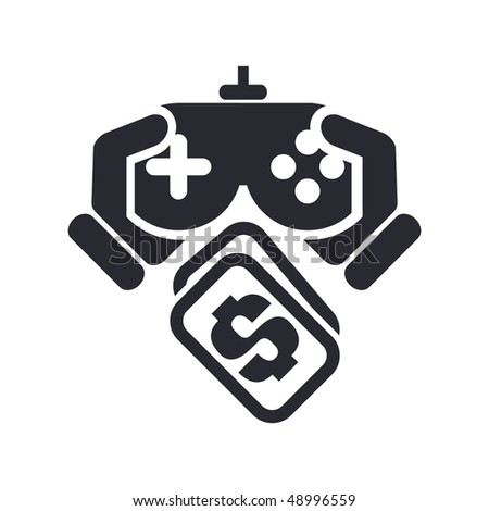 """Vector illustration of a """"money"""", """"pay"""" or """"buy"""" icon in modern style depicting a videogame concept - stock vector"""