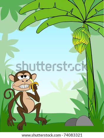 Vector illustration of a monkey in the jungle - stock vector