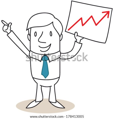 Vector illustration of a monochrome cartoon character: Businessman explaining and holding paper showing growing graph. - stock vector
