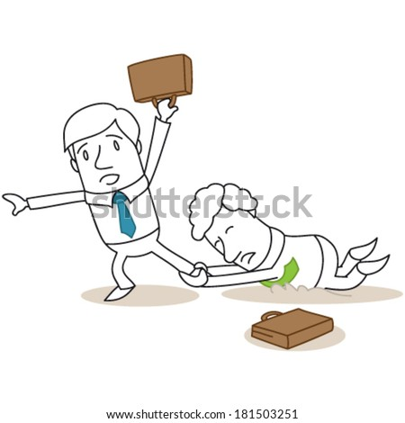 Vector illustration of a monochrome cartoon character: Competing business people fighting each other.