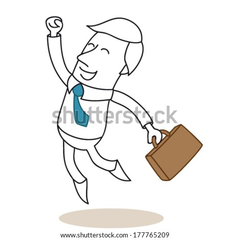 Vector illustration of a monochrome cartoon character: Happy and successful businessman carrying his briefcase and jumping with his fist in the air. - stock vector