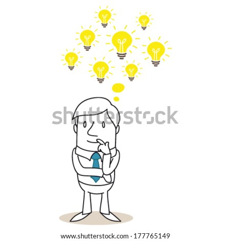 Vector illustration of a monochrome cartoon character: Pondering businessman with several light bulbs having ideas. - stock vector