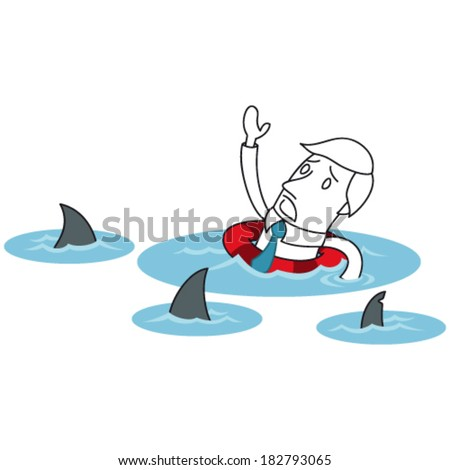 Vector illustration of a monochrome cartoon character: Scared businessman floating in the ocean surrounded by sharks. - stock vector