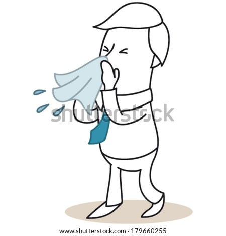 Vector illustration of a monochrome cartoon character: Sick businessman blowing his nose. - stock vector