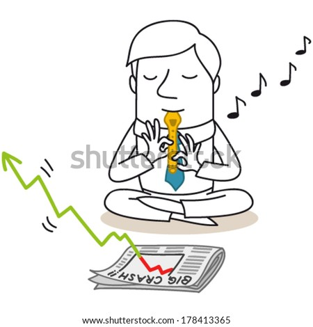 "Vector illustration of a monochrome cartoon character: Snake charming businessman sitting in front of newspaper reading ""big crash"" in stock market, playing the flute to make the decreasing graph grow - stock vector"