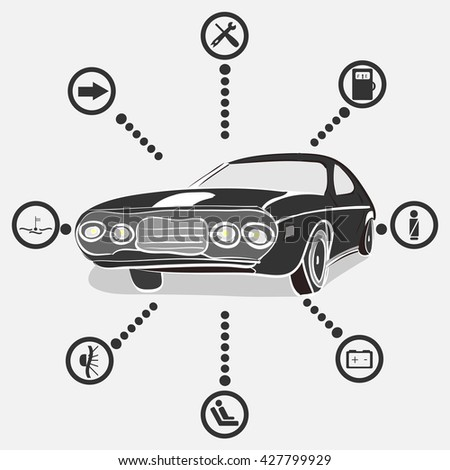 vector illustration of a monochrome retro car with car indication icons - stock vector