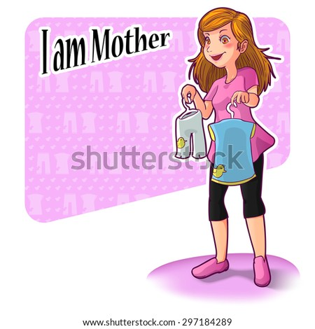 """vector illustration of a mother standing in poses shopping baby clothing, """"I am mother"""" concept - stock vector"""