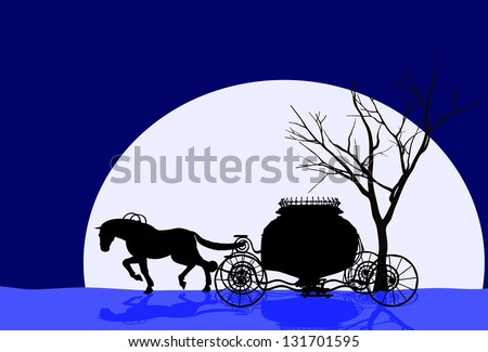 Vector illustration of a multi Silhouette with a tree & house n carriage. - stock vector
