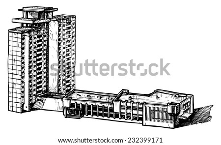 vector illustration of a multi-storey building  stylized as engraving