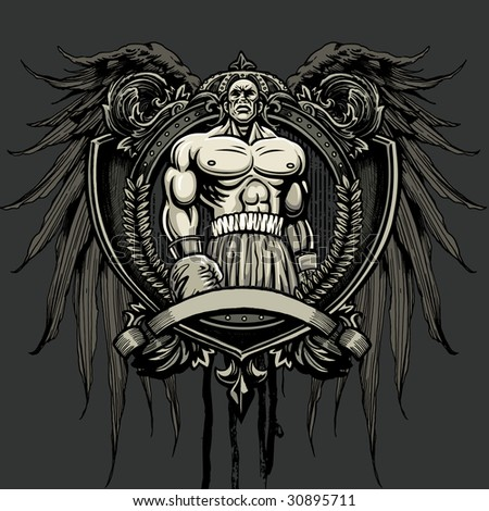 Vector illustration of a muscular boxing champion standing ready to fight over a blank banner on an ornate heraldry crest with medallion with wings, crown, floral elements and ornamental scroll - stock vector