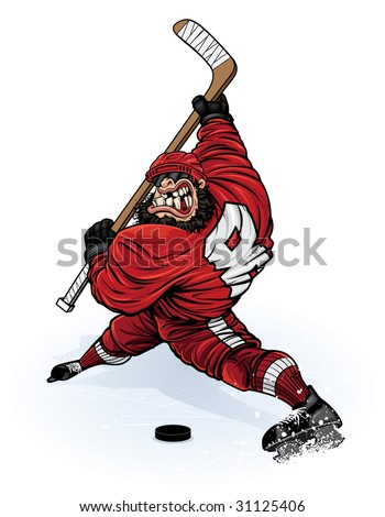 Vector illustration of a muscular hockey player about to absolutely destroy a hockey puck (along with anyone standing in it's path) with a wicked slap shot. - stock vector