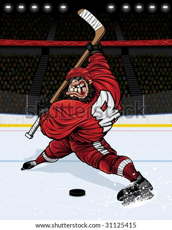 Vector illustration of a muscular hockey player about to destroy a hockey puck (along with anyone standing in it's path) with a wicked slap shot just above face-off circle in the middle of the rink. - stock vector