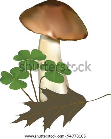 Vector illustration of a mushroom with a dry leaf and plants. The picture was created using meshes and gradients. - stock vector