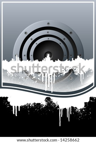 Vector illustration of a music background with a central speaker, city skyline, grunge splatter elements and lined art. - stock vector