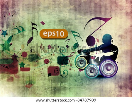vector illustration of a music dj playing music design. - stock vector